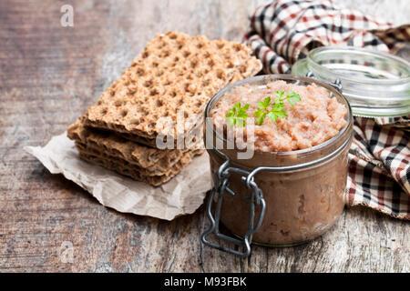 Forshmak  paste from mackerel on wooden table - Stock Photo