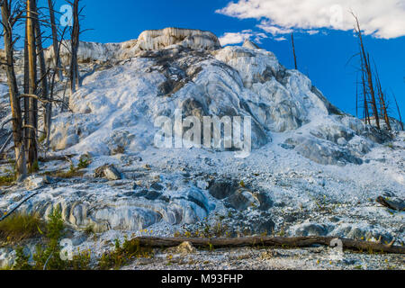 Mammoth Hot Springs in Yellowstone National Park in Wyoming. - Stock Photo
