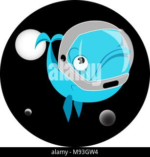 whale in space among planets astronaut logos - Stock Photo