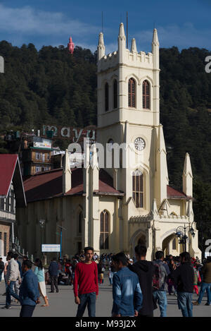 Most famous Ancient Shimla church architecture yellow building and tourist place in Himachal Pradesh, India, Asia - Stock Photo