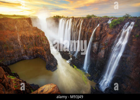 Victoria Falls in Zambia and Zimbabwe taken in 2015 - Stock Photo