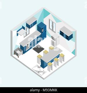 Blue Kitchen Isometric Home Interior Vector Illustration Graphic Design - Stock Photo
