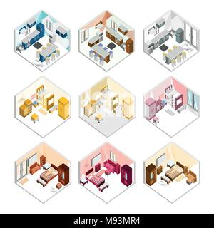 Various Design of Isometric Home Interior Vector Illustration Graphic Set - Stock Photo
