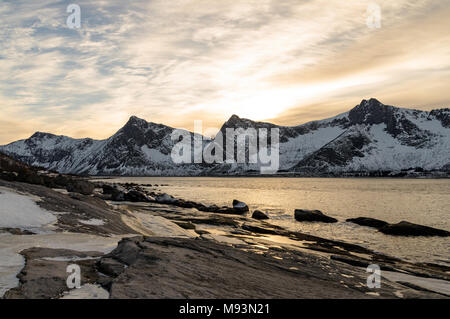 Winter scenery of Senja in Norway - Stock Photo