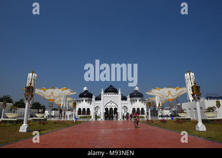 Baiturrahman Grand Mosque is located in the heart of Banda Aceh City. Indonesia - Stock Photo