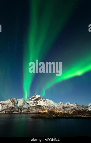 Northern Lights in Lofoten, Norway - Stock Photo