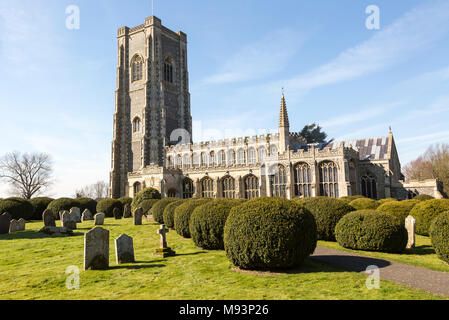 Historic village parish church of Saint Peter and Saint Paul, Lavenham, Suffolk, England, UK - Stock Photo