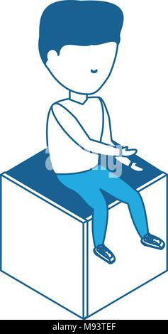 avatar man sitting on a cube seat over white background, blue shading design. vector illustration - Stock Photo