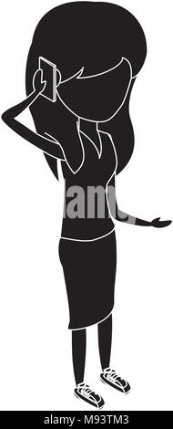 Woman standing and Talking on Cellphone over white background, vector illustration - Stock Photo