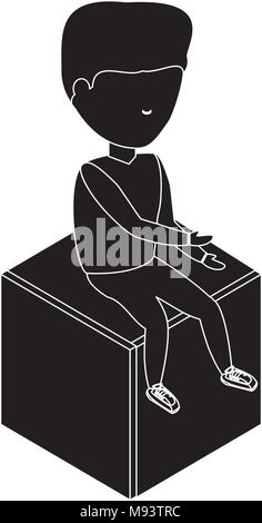 avatar man sitting on a cube seat over white background, vector illustration - Stock Photo