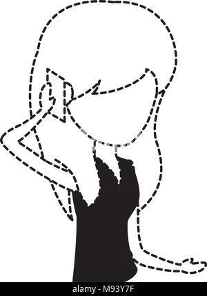 avatar Woman Talking on Cellphone over white background, vector illustration - Stock Photo