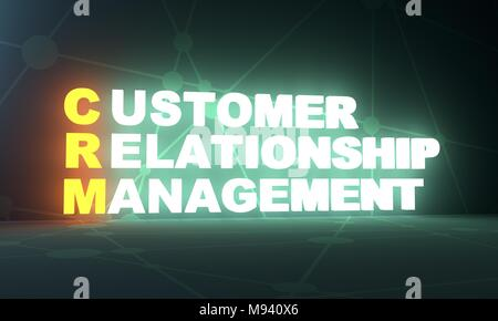 Acronym CRM - Customer Relationship Management. Business conceptual image. 3D rendering. Neon bulb illumination - Stock Photo