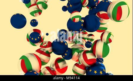 Large group of orbs or spheres levitation in empty space. 3D rendering. Italy and European Union flags - Stock Photo