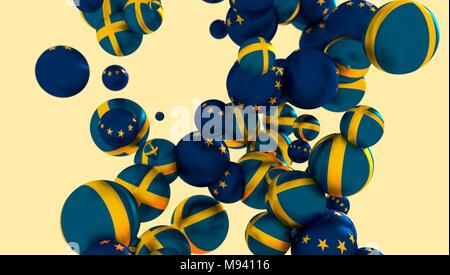 Large group of orbs or spheres levitation in empty space. 3D rendering. Sweden and European Union flags - Stock Photo