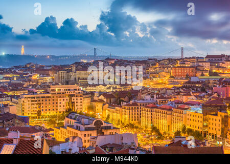Lisbon, Portugal City Skyline over the Baixa district. - Stock Photo