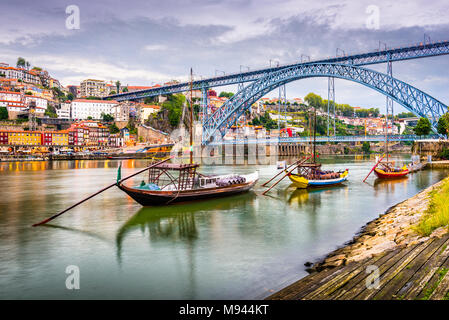 Porto, Portugal town view on the Douro River in the early evening. - Stock Photo