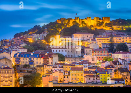 Lisbon, Portugal City Skyline with Sao Jorge Castle and Tagus River. - Stock Photo