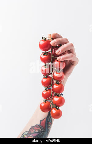 Hand holding branch of cherry tomatoes isolated on white background - Stock Photo