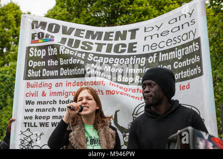 Milton Ernest, UK. 13th May, 2017. Campaigners against immigration detention attend a protest outside Yarl's Wood IRC organised by Movement For Justic - Stock Photo