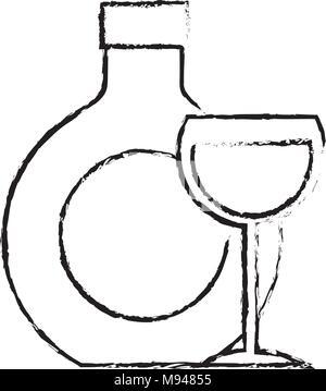 bottle wine glass drink - Stock Photo