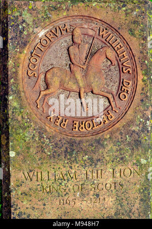 Tombstone of William the Lion , King of Scots in the grounds of Arbroath Abbey , Angus, Scotland - Stock Photo
