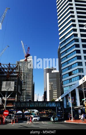 Construction of modern skyscrapers in Auckland's CBD. - Stock Photo