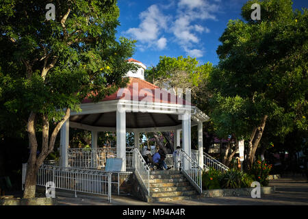 The bandstand in Franklin A. Powell Sr. park at the ferry dock in Cruz Bay on the island of St. John in the US Virgin Islands. - Stock Photo