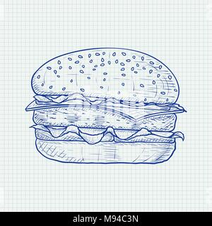 Hamburger. Hand drawn sketch on lined paper background - Stock Photo