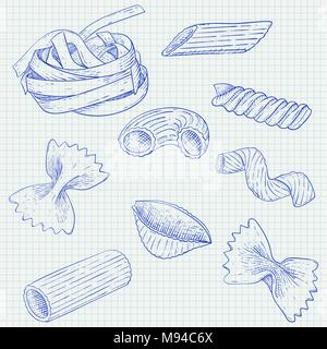 Pasta mix. Hand drawn sketch. Scattered single pieces - Stock Photo