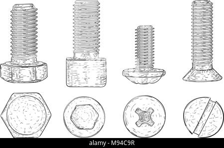 Metal bolts and screws. Hand drawn sketch - Stock Photo