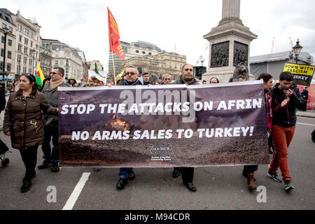 Protest march by UK Kurds against the invasion of Afrin by the Turkish state. Kurdish immigrants take to the streets of Europe to protest against the Turkish military operation in the Syrian city of Afrin. The operation, dubbed Olive Branch, started on January 20 following the US announcement of its decision to train a 30,000-strong border security force on Syria's northern borders that would include the US-backed Syrian Democratic Forces (SDF) affiliated with the YPG, which Ankara regards as a terrorist group.  Featuring: atmosphere Where: London, United Kingdom When: 18 Feb 2018 Credit: Whea - Stock Photo