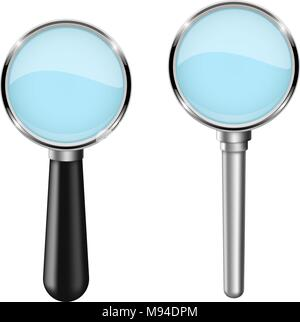 Transparent magnifying glass. Set. Vector 3d illustration isolated - Stock Photo