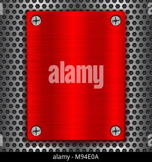 Red metal brushed plate with screws on perforated texture - Stock Photo