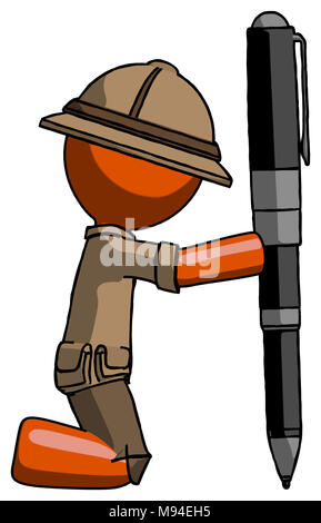 Orange explorer ranger man posing with giant pen in powerful yet awkward manner. Because its funny. - Stock Photo