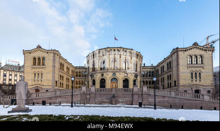 Oslo, Norway - march 16, 2018: Exterior of the Parliament of Norway in Oslo, Norway. panorama - Stock Photo