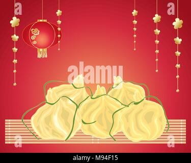 a vector illustration in eps 10 format of delicious Chinese steamed dumplings with decorations and bamboo mat on a red background - Stock Photo