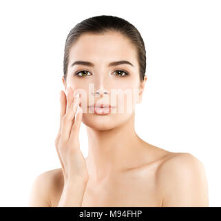 Cute Spa Model Woman with Healthy Skin Touching her Hand her Face. Spa Beauty, Facial Treatment and Cosmetology Concept - Stock Photo