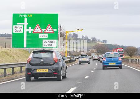 average speed cameras on A9 road, Scotland, UK - Stock Photo