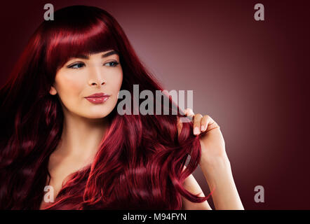 Fashion Portrait of Beautiful Woman with Long Healthy Hairstyle. Perfect Model with Red Hair - Stock Photo