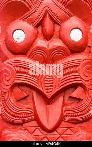 new zealand rotorua new zealand whakarewarewa red maori carving  mother of pearl decoration the meeting house wahiao rotorua new zealand north island - Stock Photo