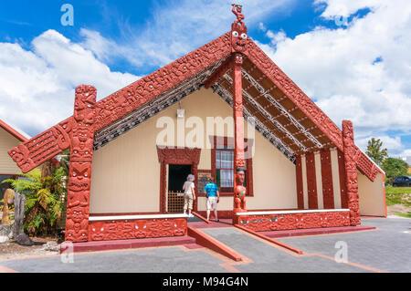 new zealand rotorua new zealand whakarewarewa thermal village wahaio meeting house whare tipuna rotorua new zealand north island new zealand oceania - Stock Photo