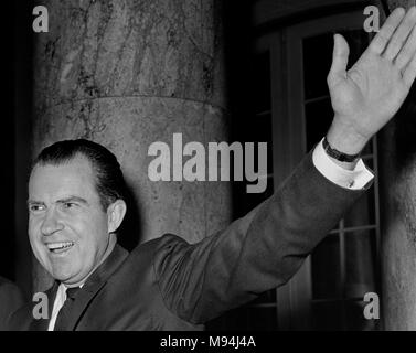 Former US Vice President and future President Richard Nixon waves to a crowd while visiting Northern California in 1965. - Stock Photo