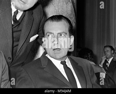 Former US Vice President and future President Richard Nixon at a dinner event while visiting Northern California in 1965. - Stock Photo
