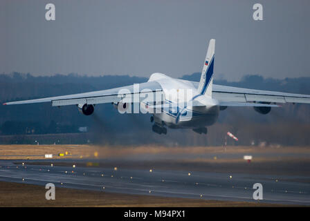 Gdansk, Poland. 22nd Mar, 2018. Russian strategic airlift jet aircraft Antonov An-124-100 Ruslan owned by Volga-Dnepr Airlines in Gdansk Lech Walesa Airport in Gdansk, Poland. March 22nd 2018 © Wojciech Strozyk / Alamy Live News - Stock Photo