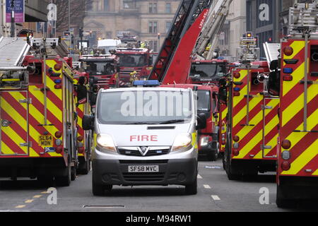 Glasgow, UK. 22 March 2018. Major fire is being fought on Sauchiehall Street Glasgow. Fire crews trying to save Pavilion Theatre from the fire. Fire appliances from across Scotland in attendance. Credit: Iain Masterton/Alamy Live News - Stock Photo