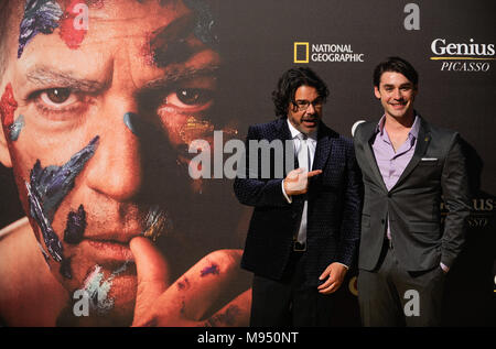 Malaga, Malaga, Spain. 22nd Mar, 2018. US Director and Executive Producer Ken Biller and actor Alex Rich pose during a photocall before the world promotional premiere at the Cervantes theatre.The city of Malaga welcomes the premiere of the second season of National Geographic's anthology series ''˜Genius', about Spanish artist Pablo Picasso life and works interpreted by the actor Antonio Banderas. On the long awaited promotional premiere participated the actor Antonio Banderas, director Ken Biller and all main cast members. The television series will be premiered on 24 April 2018. (Credit - Stock Photo
