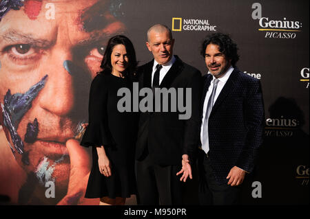 Malaga, Malaga, Spain. 22nd Mar, 2018. Spanish actor and director Antonio Banderas pose with director Ken Biller and CEO of National Geographic Global Networks Courteney Monroe during a photocall before the world promotional premiere at the Cervantes theatre.The city of Malaga welcomes the premiere of the second season of National Geographic's anthology series ''˜Genius', about Spanish artist Pablo Picasso life and works interpreted by the actor Antonio Banderas. On the long awaited promotional premiere participated the actor Antonio Banderas, director Ken Biller and all main cast members - Stock Photo