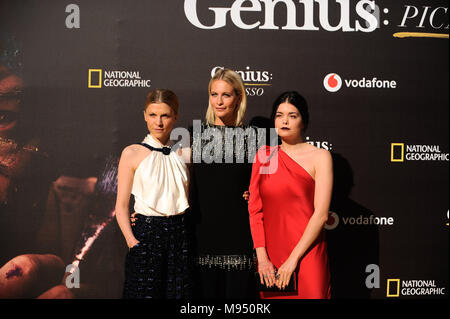 Malaga, Malaga, Spain. 22nd Mar, 2018. French actress Clemence Poesy, British actress Poppy Delevingne, and British actress Samantha Colley pose during a photocall before the world promotional premiere at the Cervantes theatre.The city of Malaga welcomes the premiere of the second season of National Geographic's anthology series ''˜Genius', about Spanish artist Pablo Picasso life and works interpreted by the actor Antonio Banderas. On the long awaited promotional premiere participated the actor Antonio Banderas, director Ken Biller and all main cast members. The television series will be - Stock Photo