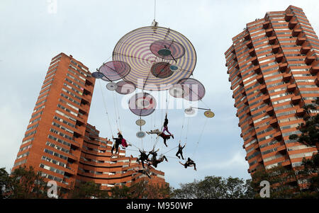 Bogota, Colombia. 22nd Mar, 2018. Artists rehearse for the Spanish play 'Muare' during the Bogota Ibero American Theater Festival (FITB), in Bogota, Colombia, 22 March 2018. The FITB celebrates three decades at the Colombian capital this year. Credit: Mauricio Duenas Castaneda/EFE/Alamy Live News - Stock Photo