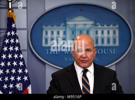 New York, USA. 22nd Mar, 2018. File photo taken on Nov. 2, 2017 shows H.R. McMaster speaks at a press briefing at the White House in Washington, DC, the United States. U.S. President Donald Trump tweeted on March 22, 2018 that John Bolton, former U.S. Ambassador to the United Nations, will replace General H.R. McMaster to be his new national security adviser. Credit: Yin Bogu/Xinhua/Alamy Live News - Stock Photo